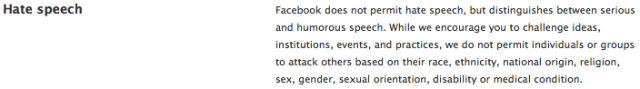 Facebook's definition of hate speech