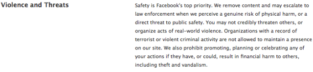 Facebook definition of violence