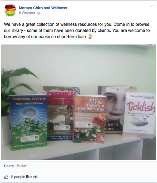 Moruya Chiro and Wellness's bookshelf